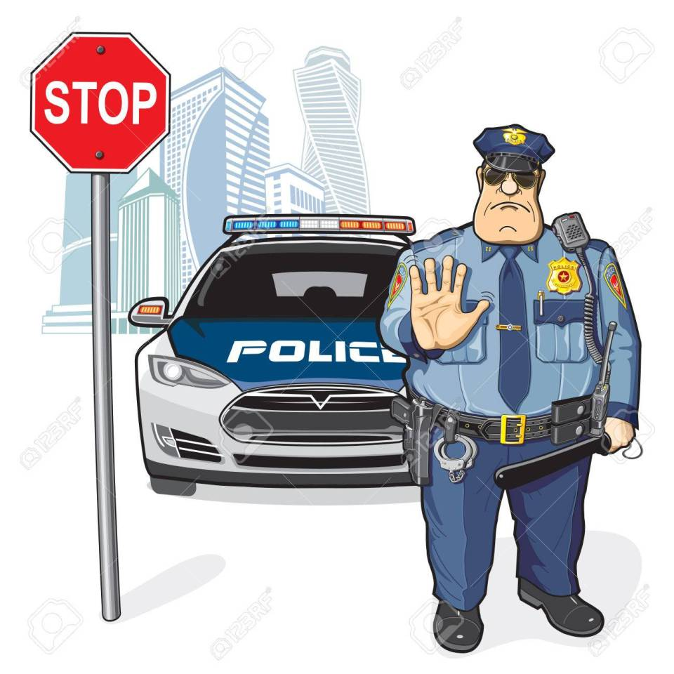 Police patrol, stop sign